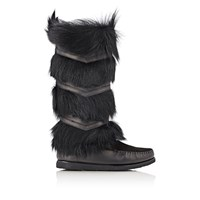 Saint Laurent Aya10 Moccasin Knee Boots Black