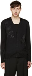 Alexander Mcqueen Black Embroidered Butterflies Cardigan