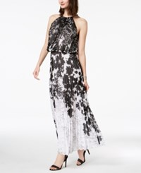 Msk Chain Neck Pleated Blouson Gown Black White