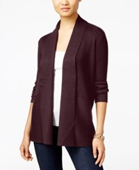 Jm Collection Petites Petite Open Front Ribbed Cardigan Only At Macy's Maroon Dahlia