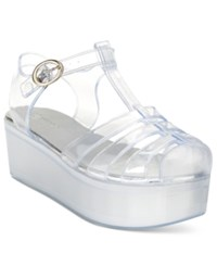 Wanted Jellypop Flatform Jelly Sandals Women's Shoes Clear