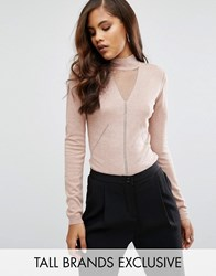 Y.A.S Tall Mojito Shimmer Insert High Neck Knitted Jumper Peach Pink