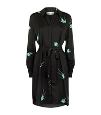 Diane Von Furstenberg Bird Print Shirt Dress Female Black