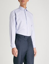 Smyth And Gibson Checked Tailored Fit Cotton Shirt Navy White