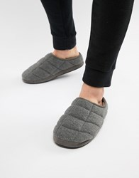 Dunlop Quilted Fleece Slip On Slipper Grey