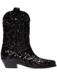 Dolce And Gabbana Gaucho 40 Sequined Cowboy Boots Black