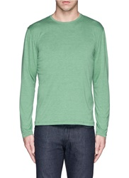 Isaia Marled Silk Long Sleeve Cotton T Shirt Green