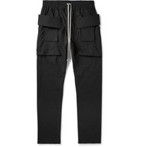 Rick Owens Drkshdw Creatch Tapered Cotton Drawstring Trousers Black