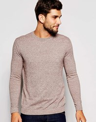 Asos Crew Neck Jumper In Brown Twist Cotton Brown Ecru Twist