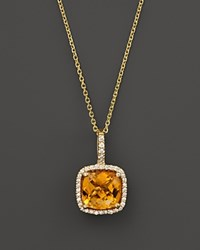 Bloomingdale's Citrine And Diamond Cushion Cut Pendant Necklace In 14K Yellow Gold 16 100 Exclusive Orange Gold