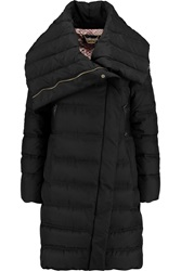 Just Cavalli Faux Leather Trimmed Quilted Shell Down Coat Black