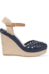 Tory Burch Solemar Leather Trimmed Woven Satin Wedge Sandals Navy