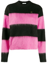 Bella Freud 'Striped Mohair Cropped Sweater' Pink