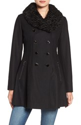 Guess Women's Fit And Flare Coat With Faux Fur Collar Black