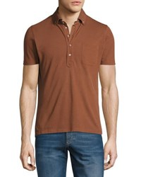 Brunello Cucinelli Short Sleeve Tipped Pique Polo Shirt Brick