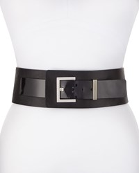 Cnc Costume National Wide Leather Patent Belt Black