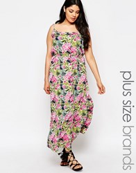 Nvme Plus Maxi Dress With Cut Outs In Tropical Floral Print Multi