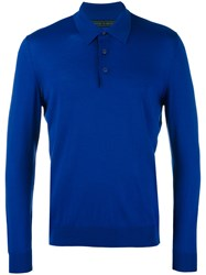 Kiton Longsleeved Polo Shirt Men Wool Xxl Blue