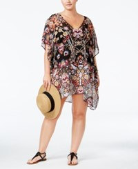 Becca Etc Plus Size Havana Cover Up Women's Swimsuit Multi