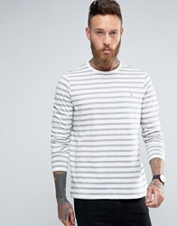 Farah Long Sleeve Top With Breton Stripe In Slim Fit Ecru Ecru Cream