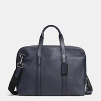 Coach Metropolitan Soft Brief In Refined Pebble Leather Black Antique Nickel Midnight N