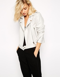 Selected Roxie Cropped Leather Jacket Grey