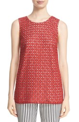 St. John Women's Collection Geo Guipure Lace Front Shell