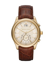 Pennant 43Mm Embossed Leather Strap Watch Brown Gold Michael Michael Kors