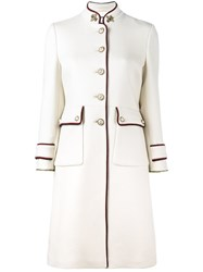 Gucci Single Breasted Military Coat Women Polyester Acetate Viscose Wool 40 Nude Neutrals