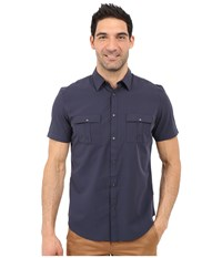 Calvin Klein Classic Fit Lyocell Blend Short Sleeve Shirt Navy Blazer Men's Short Sleeve Button Up