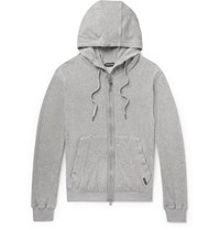 Tom Ford Cotton Blend Velour Zip Up Hoodie Gray