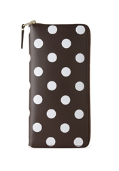 Comme Des Garcons Long Zip Wallet Brown Polka Dots