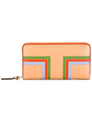 Tory Burch Colour Block Wallet Yellow Orange