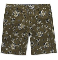 Club Monaco Maddox Floral Print Linen And Cotton Blend Shorts Army Green