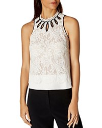 Karen Millen Lace Sleeveless Top Ivory