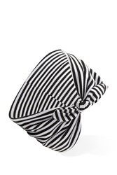 Forever 21 Striped Knotted Bow Headwrap Cream Black