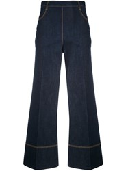 Ermanno Scervino Cropped Wide Leg Jeans Women Cotton Spandex Elastane 42 Blue