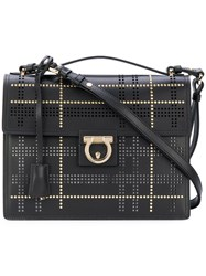 Salvatore Ferragamo Gancio Studded Shoulder Bag Women Calf Leather One Size Black