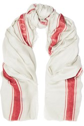 Anya Hindmarch Glass Cloth Printed Modal And Cashmere Blend Scarf Off White