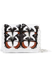 Nancy Gonzalez Gio Appliqued Crocodile Shoulder Bag White