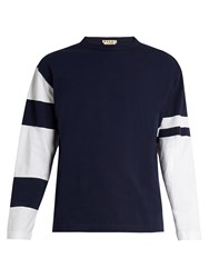 Marni Bi Colour Long Sleeved Cotton Jersey T Shirt Blue Multi