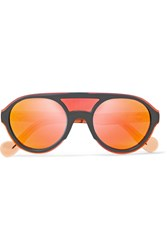 Moncler D Frame Acetate Mirrored Sunglasses Orange Gbp