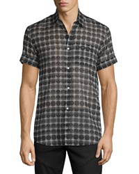 Cnc Costume National Short Sleeve Geometric Print Dress Shirt Black Gray Black Grey