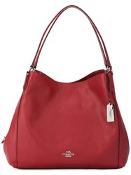 Coach Edie Shoulder Bag Women Calf Leather One Size Red