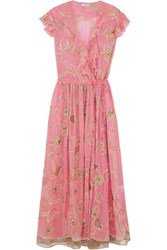 Ashish Embroidered Embellished Silk Georgette Wrap Dress Pink
