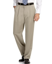 Perry Ellis Portfolio Big And Tall Double Pleat Melange Microfiber Dress Pants Simply Taupe