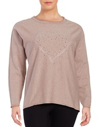 Marc New York Long Sleeve Crewneck Embellished Hi Lo Top Pink