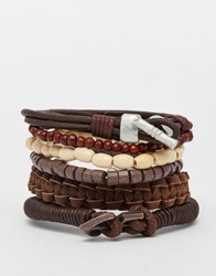 Asos Leather Bracelet Pack In Brown And Khaki Brown