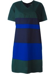Odeeh Colour Block Shift Dress Green