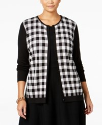 August Silk Plus Size Gingham Cardigan Black White Buffalo